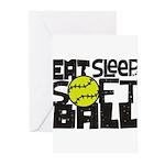 EAT, SLEEP, SOFTBALL - Black Greeting Cards (Pk of
