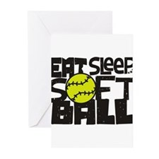 EAT, SLEEP, SOFTBALL - Black Greeting Cards (Pk of