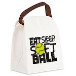EAT, SLEEP, SOFTBALL - Black Canvas Lunch Bag