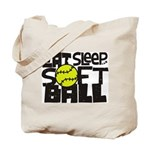 EAT, SLEEP, SOFTBALL - Black Tote Bag
