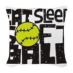 EAT, SLEEP, SOFTBALL - Black Woven Throw Pillow