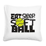 EAT, SLEEP, SOFTBALL - Black Square Canvas Pillow