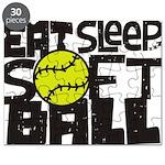 EAT, SLEEP, SOFTBALL - Black Puzzle