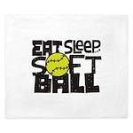 EAT, SLEEP, SOFTBALL - Black King Duvet
