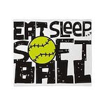EAT, SLEEP, SOFTBALL - Black Throw Blanket