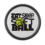 EAT, SLEEP, SOFTBALL - Black Large Wall Clock
