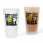 EAT, SLEEP, SOFTBALL - Black Drinking Glass
