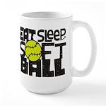 EAT, SLEEP, SOFTBALL - Black Mug