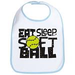 EAT, SLEEP, SOFTBALL - Black Bib