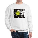 EAT, SLEEP, SOFTBALL - Black Sweatshirt