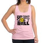 EAT, SLEEP, SOFTBALL - Black Racerback Tank Top