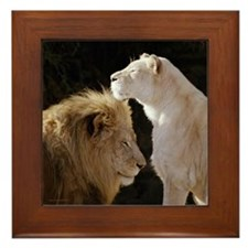 Lion and Lioness Yin Yang Framed Tile