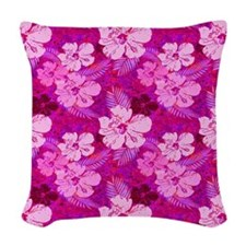 Hibiscus Flowers Pink Woven Throw Pillow
