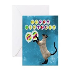 62nd Birthday card with a cat Greeting Card