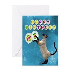 61st Birthday card with a cat Greeting Card
