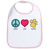 Peace Love &amp; Puppies Bib