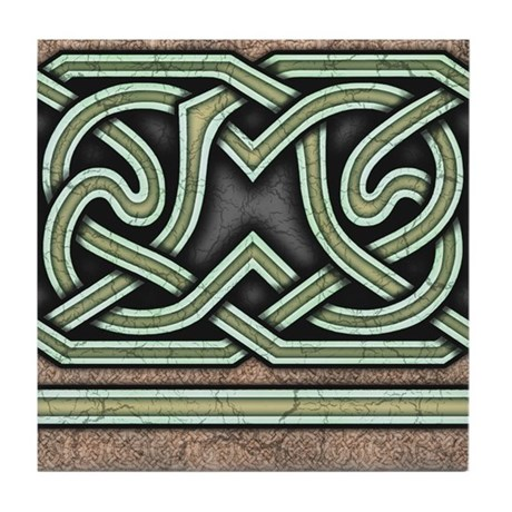 Celtic Border A Tile Green, Straight Section