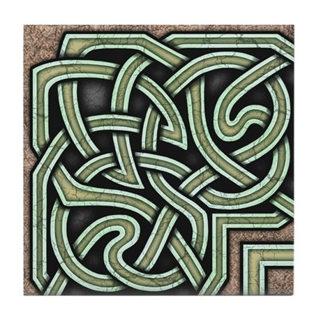 Celtic Border A Tile Green, Corner Section