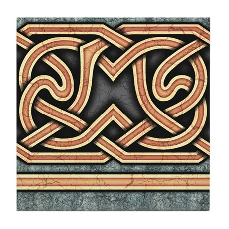 Celtic Border A Tile Gold, Straight Section