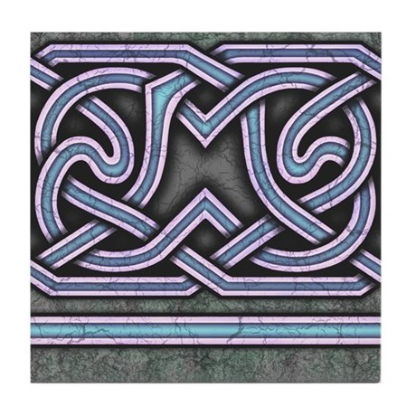 Celtic Border A Tile Blue, Straight Section