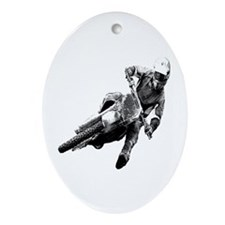 Grooving it on a dirt bike Oval Ornament