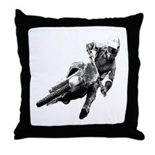 Grooving it on a dirt bike Throw Pillow
