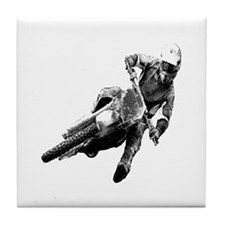 Grooving it on a dirt bike Tile Coaster