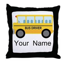 Personalized School Bus Driver Throw Pillow