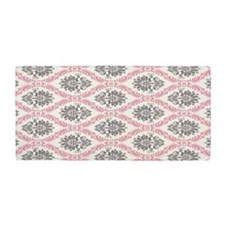 pink grey cream elegant damask Beach Towel
