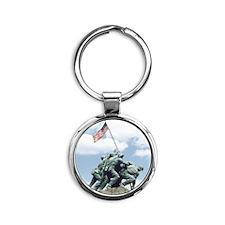 Marine Corps Memorial Iwo Jima Round Keychain