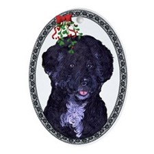 """Longevity"" Portuguese Water Dog Oval Ornament"