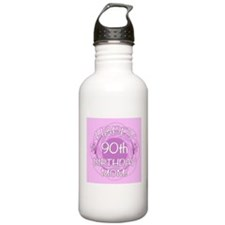 90th Birthday For Mom (Floral) Water Bottle