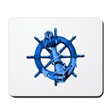 Blue Ship Anchor And Helm Mousepad