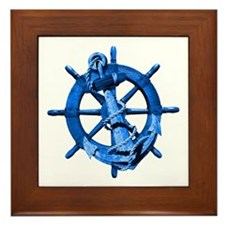 Blue Ship Anchor And Helm Framed Tile