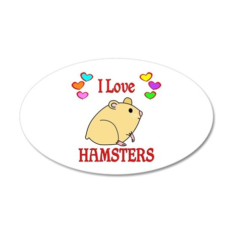 I Love Hamsters 35x21 Oval Wall Decal