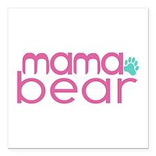 "Mama Bear - Family Matching Square Car Magnet 3"" x"