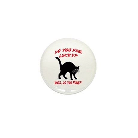 DO YOU FEEL LUCKY? (BLACK CAT) Mini Button (10 pac