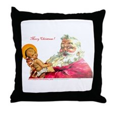 Santa aand Jesus Throw Pillow