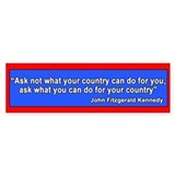 JFK Inaugural Quote Bumper Car Sticker