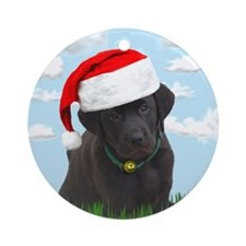 Santa Black Lab Ornament (Round)