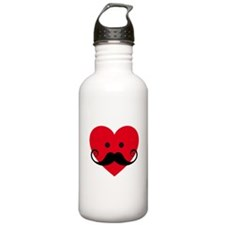 mustache design with red heart face Water Bottle