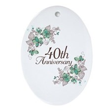 40th Anniversary Keepsake Ornament (Oval)