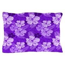 Hibiscus Purple Tropical Flowers Pillow Case