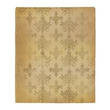 gold tone distressed damask pattern Throw Blanket