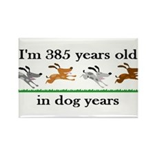 55 dog years birthday 2 Rectangle Magnet (100 pack
