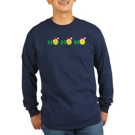 Ho Ho Ho Smiley Face: Long Sleeve Dark T-Shirt