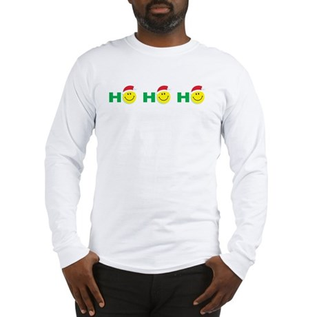 Ho Ho Ho Smiley Face: Long Sleeve T-Shirt