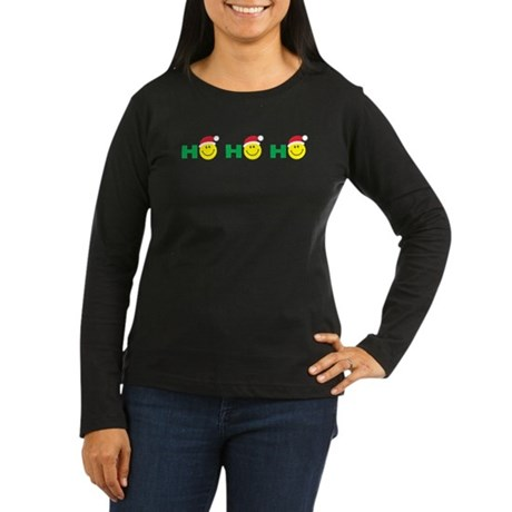 Ho Ho Ho Smiley Face: Women's Long Sleeve Dark T-S