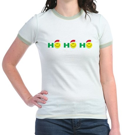 Ho Ho Ho Smiley Face: Jr. Ringer T-Shirt