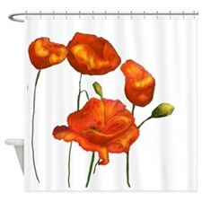 Poppies (orange) Shower Curtain